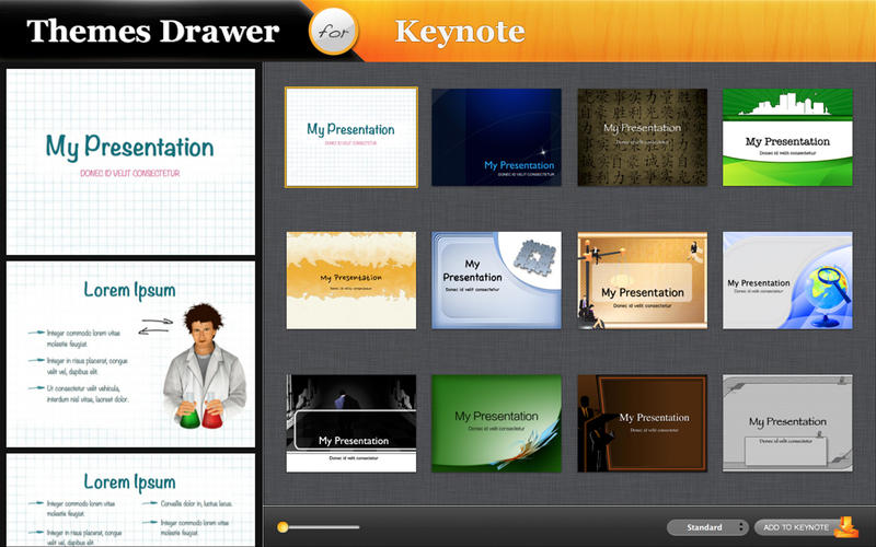 Themes Drawer for Keynote